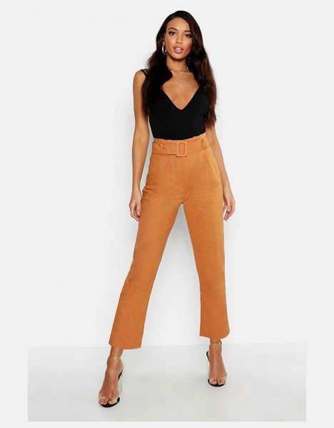 Boohoo Linen Mix Paperbag Belted Pants in tobacco