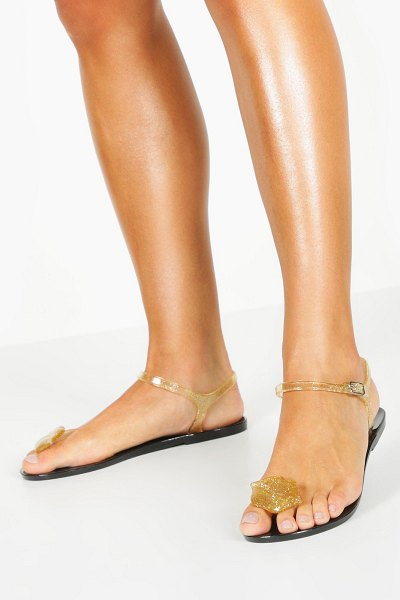 Boohoo Lips Toe Post Jelly Sandals in gold