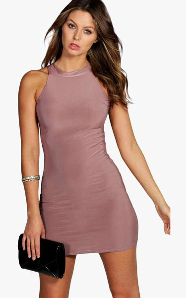 Boohoo High Neck Slinky Mini Dress in mauve - Dresses are the most-wanted wardrobe item for...