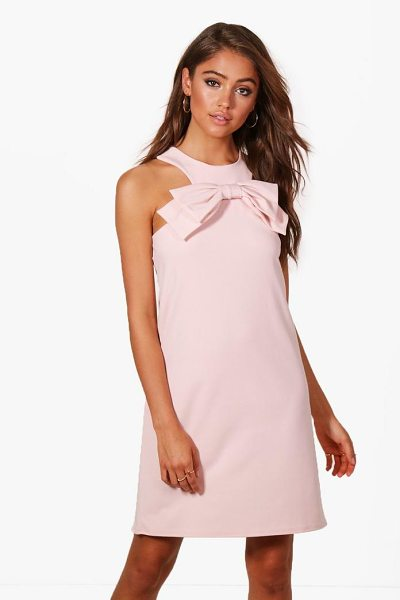Boohoo Bow Front Detail Shift Dress in blush - Dresses are the most-wanted wardrobe item for...