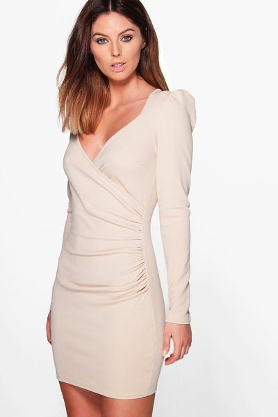 Boohoo Slinky Wrap Long Sleeve Bodycon Dress in stone - Dresses are the most-wanted wardrobe item for...