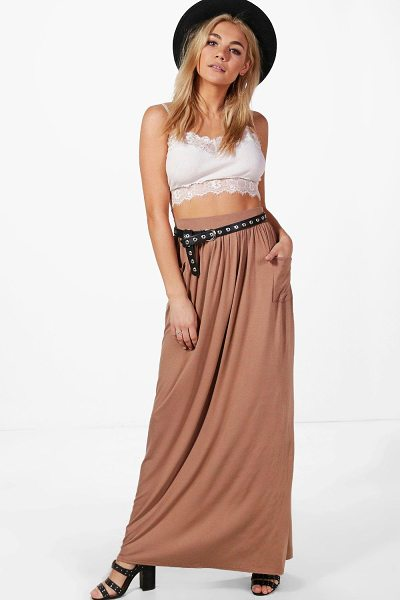 Boohoo Lizbeth Pocket Front Jersey Maxi Skirt in camel - Skirts are the statement separate in every wardrobe This...