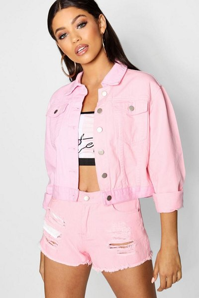 Boohoo Lizzie Pink Patchwork Cropped Denim Jacket in pink - Wrap up in the latest coats and jackets and get...