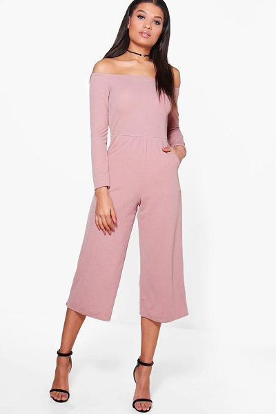 Boohoo Bardot Long Sleeve Wide Leg Culotte Jumpsuit in rose