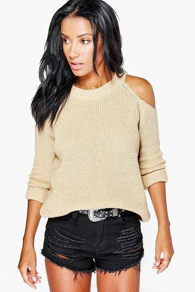 BOOHOO Cold Shoulder Jumper in sand - Nail new season knitwear in the jumpers and cardigans...