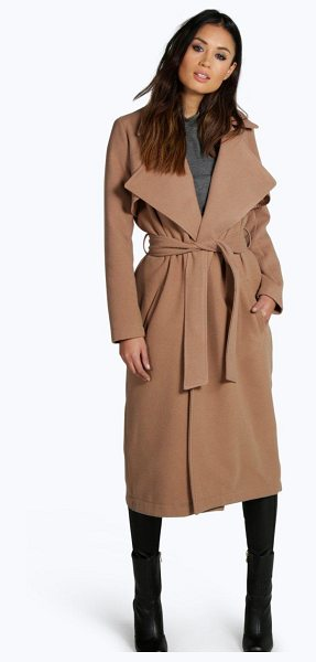 Boohoo Lois Longline Belted Wool Look Trench in camel - Wrap up in the latest coats and jackets and get...
