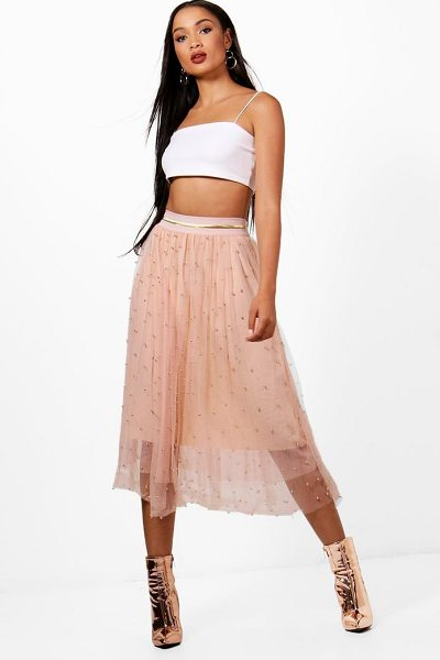 Boohoo Bead Embellished Tulle Midi Skirt in blush
