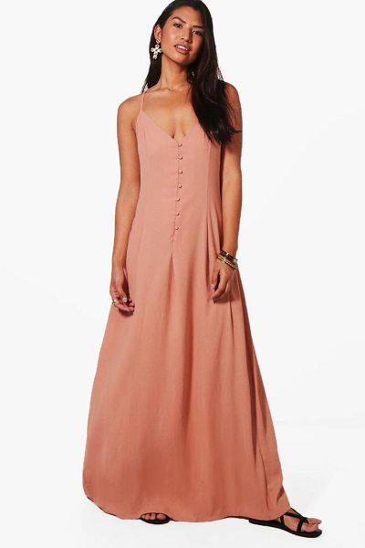 Boohoo Lola Button Through Maxi Dress in blush - Take your style to the max with the always gorgeous maxi...