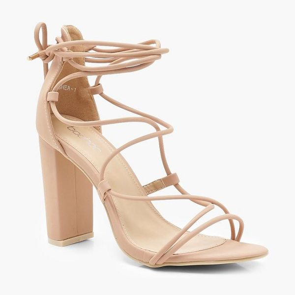 Boohoo Cage Lace Up Block Heels in nude - We'll make sure your shoes keep you one stylish step...
