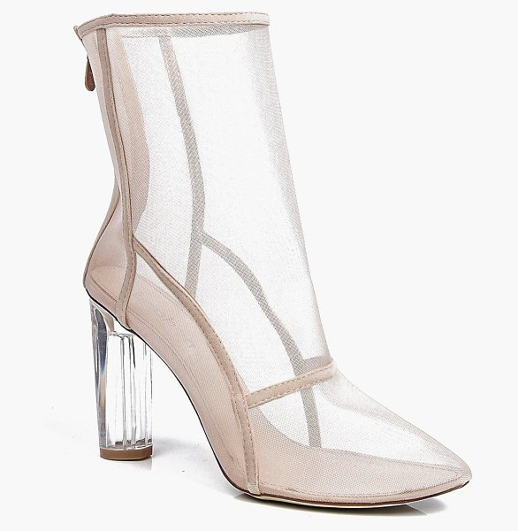 Boohoo Lola Clear Cylinder Mesh Sock Boot in nude - Boots are a basic in every shoe collectionAnkle boots...