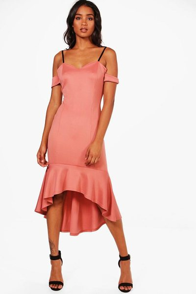 Boohoo Cold Shoulder Flute Hem Midi Dress in dusky pink - Dresses are the most-wanted wardrobe item for...