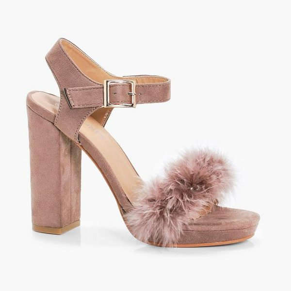 Boohoo Lola Feather Trim Platform Heels in nude - We'll make sure your shoes keep you one stylish step...