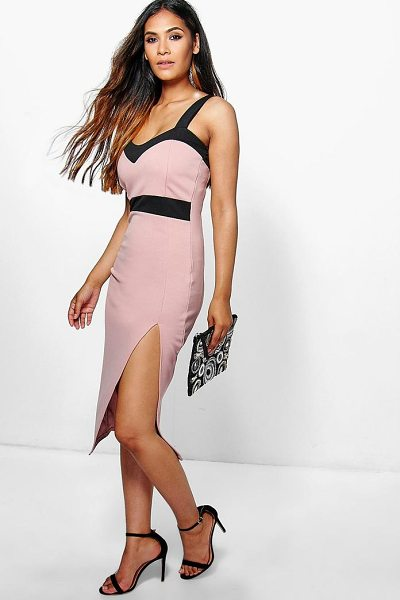 Boohoo Lola Sweetheart Contrast Midi Dress in khaki - Dresses are the most-wanted wardrobe item for...
