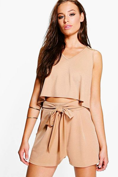 BOOHOO V Neck Top + Tie Short Co-Ord - Co-ordinates are the quick way to quirky this seasonMake...
