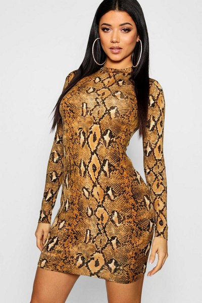 d9f3608c0e Boohoo Long Sleeve Snake Print Bodycon Dress in taupe - Dresses are the  most-wanted