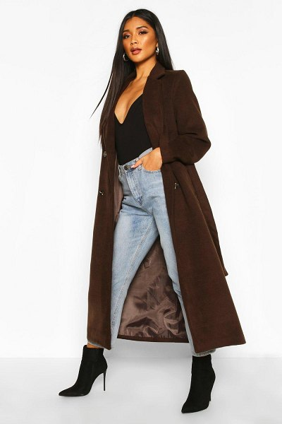 Boohoo Longline Double Breasted Belted Wool Look Coat in chocolate