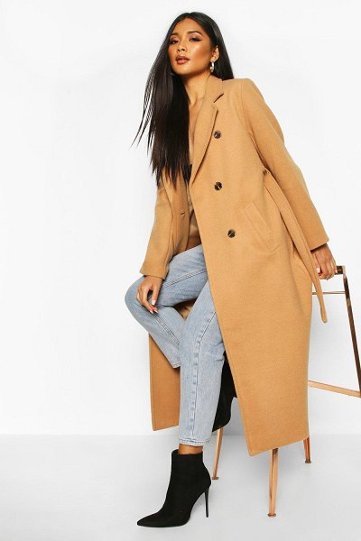Boohoo Longline Double Breasted Belted Wool Look Coat in camel