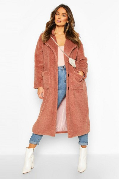 Boohoo Longline Teddy Faux Fur Coat in camel