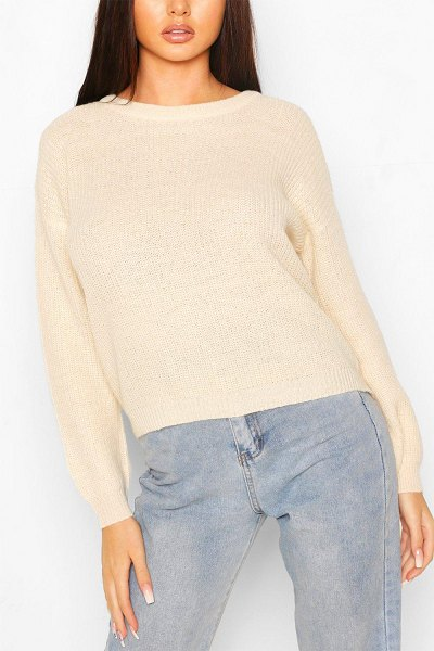 Boohoo Loose Rib Knit Sweater in stone