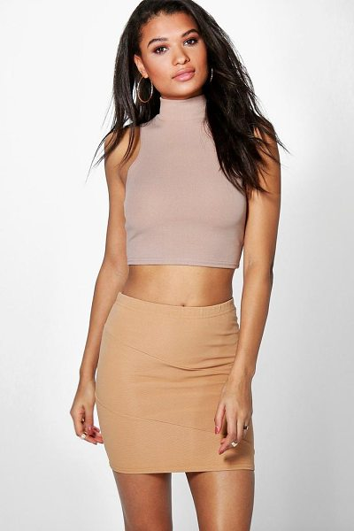 Boohoo Lorelai Ribbed Panel Mini Skirt in camel - Skirts are the statement separate in every wardrobe This...