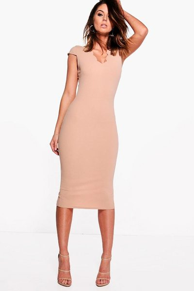Boohoo Loren Scallop Neck Cap Sleeved Midi Dress in stone - Dresses are the most-wanted wardrobe item for...
