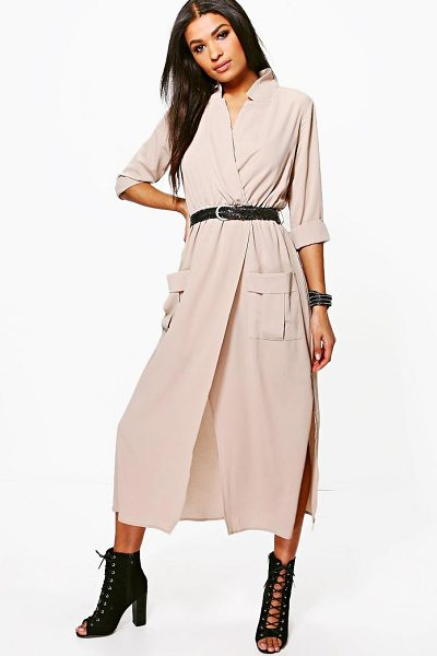 Boohoo Long Sleeve Pocket Front Shirt Dress in sand - Elevate your office look with a chic shirt dress. Think...