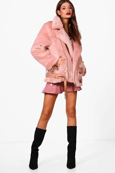 Boohoo Boutique Oversized Faux Fur Aviator in dusky pink - Wrap up in the latest coats and jackets and get...