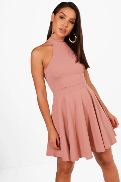 Boohoo High Neck Skater Dress in rose - Dresses are the most-wanted wardrobe item for...