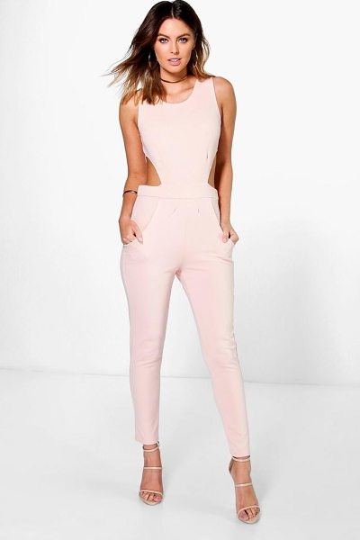 Boohoo Side Cut Out Skinny Leg Jumpsuit in stone - Jump start your new season wardrobe with the always chic...