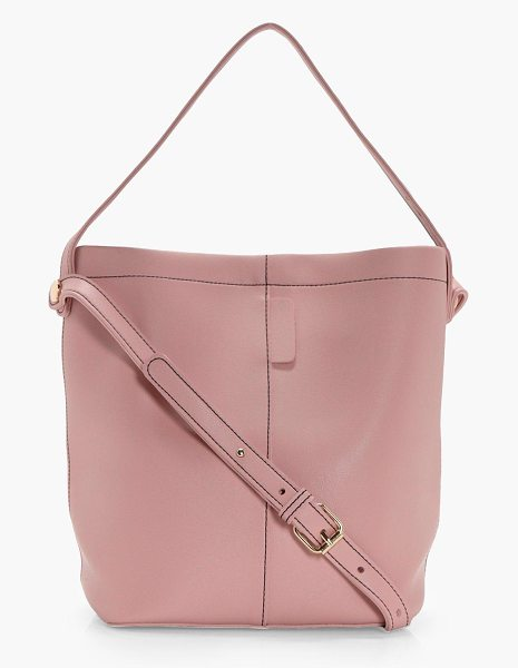 Boohoo Lottie Structured Bucket Bag in nude - Add attitude with accessories for those fashion-forward...