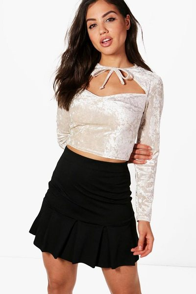 Boohoo Lottie Velvet Cut Out Crop in beige - Steal the style top spot in a statement separate from...