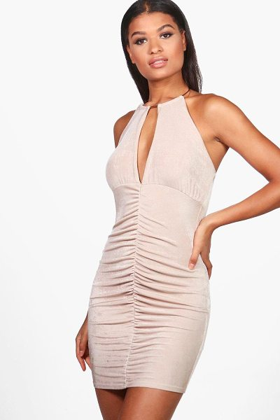 BOOHOO Lou Textured Slinky Choker Bodycon Dress - Dresses are the most-wanted wardrobe item for...