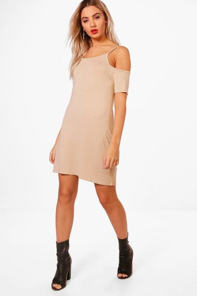 Boohoo Basic Cold Shoulder Shift Dress in sand - Dresses are the most-wanted wardrobe item for...