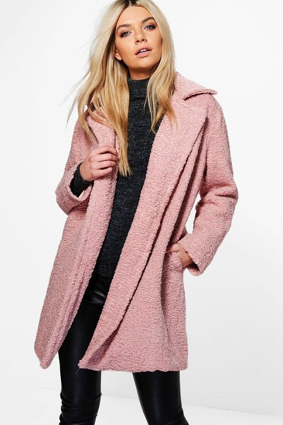 Boohoo Louisa Boutique Teddy Fur Chuck On Coat in dusky pink - Louisa Boutique Teddy Fur Chuck On Coat dusky pink