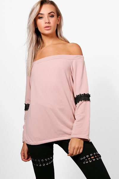 Boohoo Louisa Off The Shoulder Lace Trim Sweat Top in blush - Steal the style top spot in a statement separate from...
