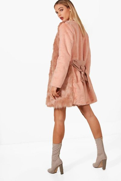 Boohoo Louise Boutique Belted Faux Fur Mix Coat in rose - Wrap up in the latest coats and jackets and get...