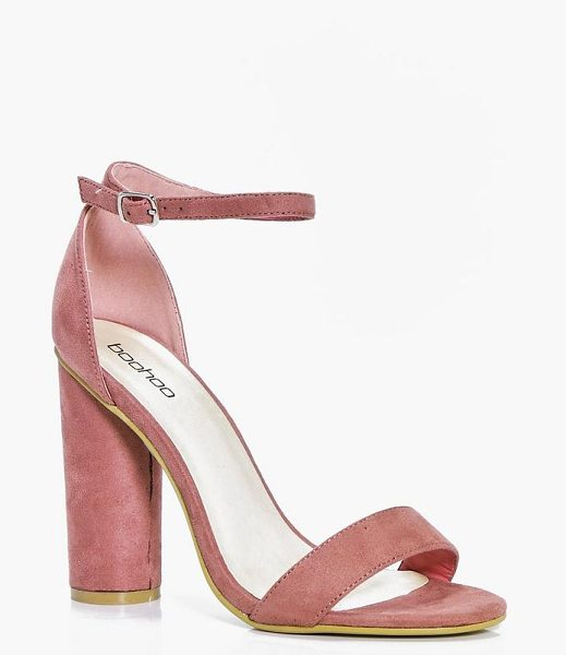 Boohoo Cylinder Block Two Part Heels in pink - We'll make sure your shoes keep you one stylish step...