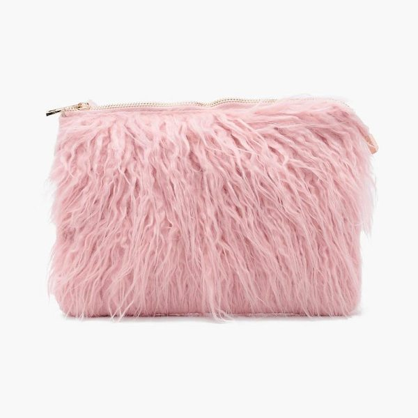 Boohoo Louise Mongolian Faux Fur Clutch Bag in blush - Add attitude with accessories for those fashion-forward...