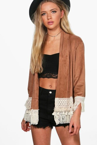 Boohoo Louise Suedette Lace Trim Jacket in tan - Wrap up in the latest coats and jackets and get...