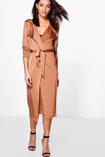 Boohoo Louise Tie Waist Duster & Skirt Co-Ord Set in bronze - Co-ordinates are the quick way to quirky this seasonMake...