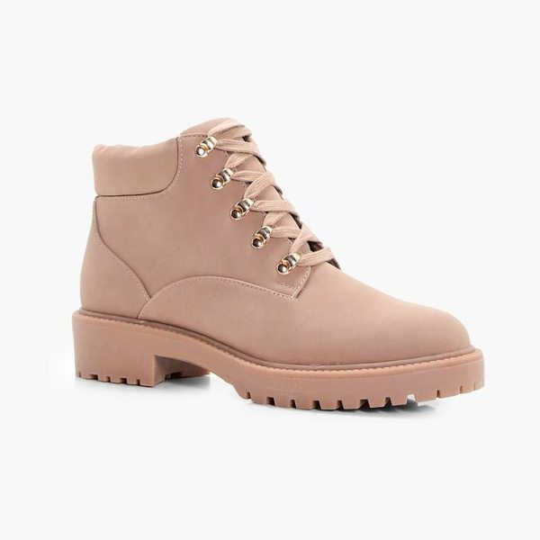 Boohoo Low Ankle Chunky Hiker Boot in sand - We'll make sure your shoes keep you one stylish step...