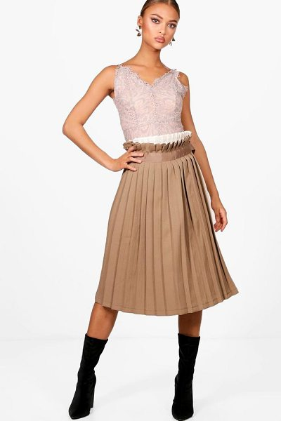 Boohoo Contrast Woven Pleated Wrap Midi Skirt in sand - Skirts are the statement separate in every wardrobe This...