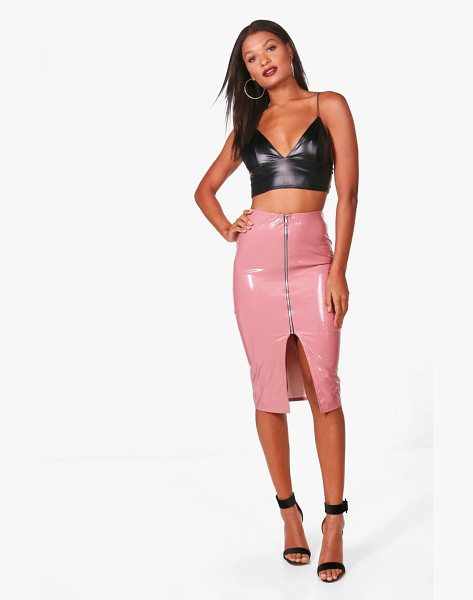 BOOHOO Vinyl Zip Through Midi Skirt in rose - Skirts are the statement separate in every wardrobe This...