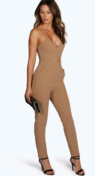 Boohoo Lucie Cut Out Jumpsuit in camel - Jumpsuits are your day-to-night dress alternativeYour...