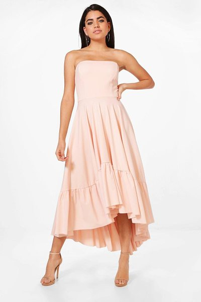 BOOHOO Lucy Bandeau Ruffle Hem Midi Skater Dress - Dresses are the most-wanted wardrobe item for...
