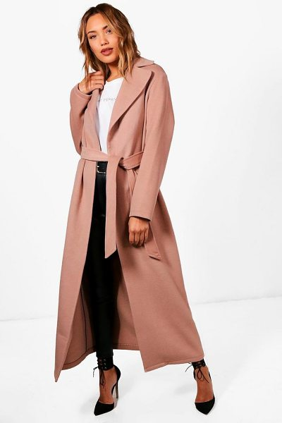 Boohoo Belted Maxi Wool Look Coat in camel - Wrap up in the latest coats and jackets and get...