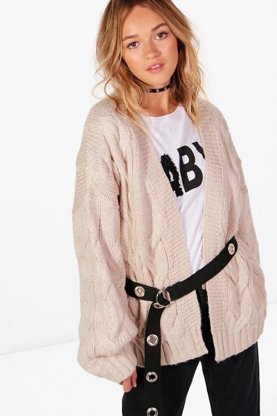 Boohoo Lucy Cable Crop Soft Knit Cardigan in cream - Nail new season knitwear in the jumpers and cardigans...