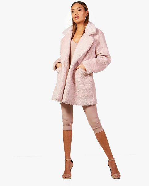 Boohoo Collar Faux Fur Coat in pink - Wrap up in the latest coats and jackets and get...