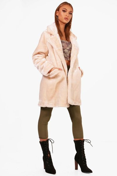 BOOHOO Lucy Collar Faux Fur Coat - Wrap up in the latest coats and jackets and get...