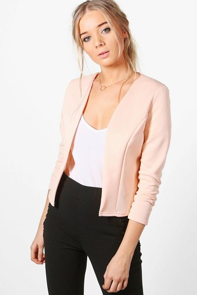 Boohoo Lucy Crop Fitted Blazer in nude - Wrap up in the latest coats and jackets and get...